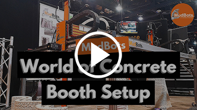 mudbots booth setup at the world of concrete 2019 youtube thumbnail art with play button