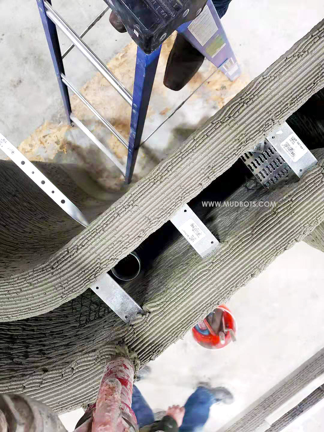 Here is a top view of a 3D printed concrete walls
