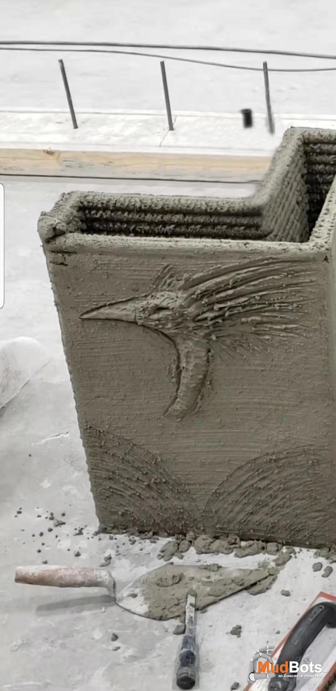 Have fun while you create! Carve beautiful characters and designs on 3D printed concrete walls.