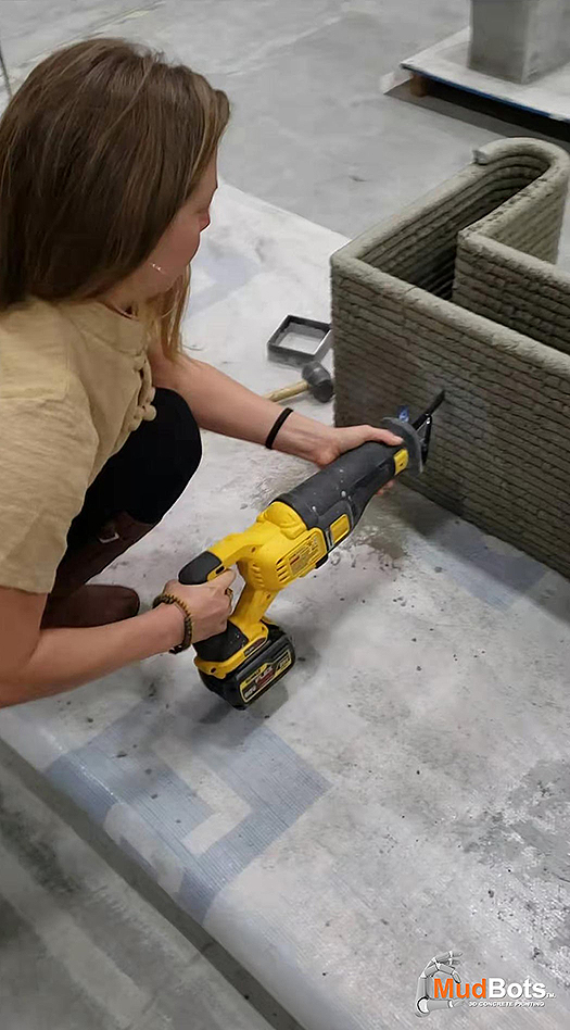 With the use of different tools, you can drill holes and carve out various shapes out of any 3D printed concrete structures. It is so easy, anybody could do it!