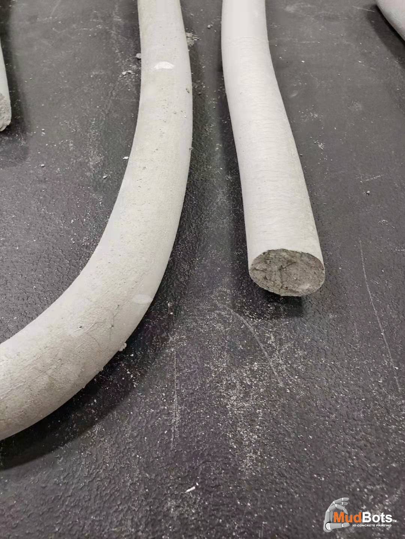 A close up on 3D concrete printed poles