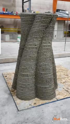 3D Printed Concrete Spiral Wavy Pillar